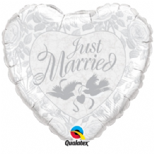 "Just Married White Silver Foil Balloon (18"") 1pc"